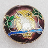 Cloisonne Beads, Flat Round 18x8mm Hole:1.5mm, Sold by PC