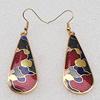 Cloisonne Earrings, Flat Teardrop 47x18mm, Sold by PC