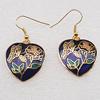 Cloisonne Earrings, Heart 23x23mm, Sold by PC