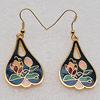 Cloisonne Earrings, Heart 37x20mm, Sold by PC