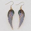 Cloisonne Earrings, Wing 47x14mm, Sold by PC