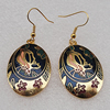 Cloisonne Earrings, Flat Oval 35x22mm, Sold by PC