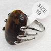 Alloy Gemstone Finger Rings, 20x26mm, Ring:19mm inner diameter, Sold by Box