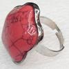 Alloy Gemstone Finger Rings, 27mm, Ring:18mm inner diameter, Sold by Box