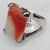 Alloy Gemstone Finger Rings, 19x25mm, Ring:18mm inner diameter, Sold by Box