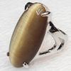 Alloy Cats Eye Finger Rings, 14x28mm, Ring:18mm inner diameter, Sold by Box