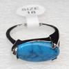 Alloy Gemstone Finger Rings, 8x17mm, Ring:18mm inner diameter, Sold by Box