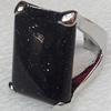 Alloy Gemstone Finger Rings, 23x35mm, Ring:16mm inner diameter, Sold by Box