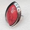 Alloy Gemstone Finger Rings, 18x24mm, Ring:18mm inner diameter, Sold by Box
