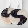Shell Earring, Flat Round, 50x68mm, Sold by Dozen