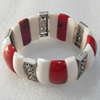 Fashion Bracelet, Coral Beads & Alloy Beads, width:27mm, Length Approx:7.1-inch, Sold by Strand