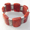 Fashion Bracelet, Coral Beads & Alloy Beads, width:30mm, Length Approx:7.1-inch, Sold by Strand