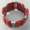 Fashion Bracelet, Coral Beads & Alloy Beads, width:28mm, Length Approx:7.1-inch, Sold by Strand