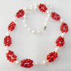 Fashion Necklace, Coral Beads & Pearl Beads, width:8mm, Length Approx:17.7-inch, Sold by Strand
