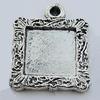Zinc Alloy Cabochon Settings, Lead-free, Outside Diameter:18x18mm Inner Diameter:12mm, Sold by Bag