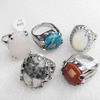 Metal Alloy Gemstone Finger Rings, Mix Color & Mix Style, 15x22-21x35mm, Sold by Box