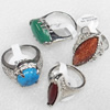 Metal Alloy Gemstone Finger Rings, Mix Color & Mix Style, 7x22-18x25mm, Sold by Box