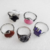 Metal Alloy Gemstone Finger Rings, Mix Color & Mix Style, 7x15-10mm, Sold by Box