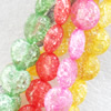 Crackle Glass Beads, Flat Round, Mix color, 12mm, Hole:Approx 1mm, Sold per 16-inch Strand
