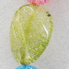 Crackle Glass Beads, Twist Flat Oval, 18x25mm, Hole:Approx 1mm, Sold per 16-inch Strand