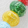Crackle Glass Beads, Rondelle, 12mm, Hole:Approx 1mm, Sold per 16-inch Strand