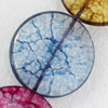 Crackle Glass Beads, Flat Round, 30mm, Hole:Approx 1mm, Sold per 16-inch Strand