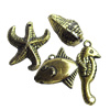Antique Gold Plastic Pendant, Mix Style, 11x20-22x9mm, Hole:Approx 2mm, Sold by Bag