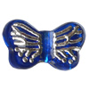 Transparent Plated Colorful(Silver) Plastic Beads, A Grade, Butterfly, 14x8mm, Hole:Approx 2mm, Sold by Bag