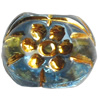 Transparent Plated Colorful(Gold) Plastic Beads, A Grade, 12x11mm, Hole:Approx 2mm, Sold by Bag