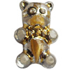 Transparent Plated Colorful(Gold) Plastic Beads, A Grade, Bear, 10x16mm, Hole:Approx 2mm, Sold by Bag