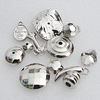 Jewelry findings, CCB Plastic Beads, Mix Style, Platina Plated, 8mm-26mm Hole:2mm, Sold by Bag