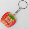 Key Chain, Iron Ring with Wood Charm, Charm width:43mm, Length Approx: 10.5cm, Sold by PC