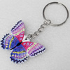 Key Chain, Iron Ring with Wood Charm, Charm width:45mm, Length Approx: 8.5cm, Sold by PC