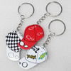 Key Chain, Iron Ring with Wood Charm, Mix Color, Charm width:33mm, Length Approx: 11cm, Sold by PC