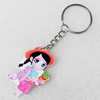 Key Chain, Iron Ring with Wood Charm, Charm width:30mm, Length Approx: 10.5cm, Sold by PC