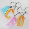Key Chain, Iron Ring with Wood Charm, Mix Letter, Charm width:37mm, Length Approx: 11cm, Sold by PC