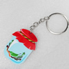 Key Chain, Iron Ring with Wood Charm, Charm width:37mm, Length Approx: 10cm, Sold by PC