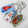 Key Chain, Iron Ring with Wood Charm, Mix Style, Charm width:37mm, Length Approx: 12.5cm, Sold by PC