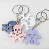 Key Chain, Iron Ring with Wood Charm, Mix Color, Charm width:45mm, Length Approx: 10.5cm, Sold by PC