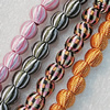 Woven Beads, Round 25mm Hole:3mm, Sold by Bag