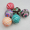 Pottery Clay Beads, Mix Color, Round 30mm Hole:4mm, Sold by Bag
