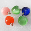 Mix Color Cats Eye Pendant, 14x15mm, Hole:About 2mm, Sold by PC