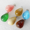 Mix Color Cats Eye Pendant, Teardrop, 18x22mm, Hole:About 2mm, Sold by PC