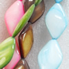 Mix Colour Shell Beads, Diamond, 15x24mm, Hole:Approx 1mm, Sold per 16-inch Strand