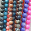 Mix Colour Shell Beads, Round, 6mm, Hole:Approx 1mm, Sold per 16-inch Strand