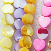 Mix Colour Shell Beads, Heart, 10mm, Hole:Approx 1mm, Sold per 16-inch Strand