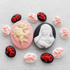 Cameos Resin Beads, No-Hole Jewelry findings, Flat Oval, 13x18-32x42mm, Sold by Bag
