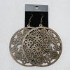 Wood Earrings, Flat Round 70mm, Sold by Group