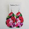 Iron Earrings, Teardrop 65x50mm, Sold by Group
