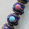 Handmade Indonesia Beads, Round 18mm Hole:3.5mm, Sold by PC